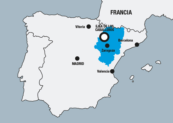 Location map for Ejea de los Caballeros